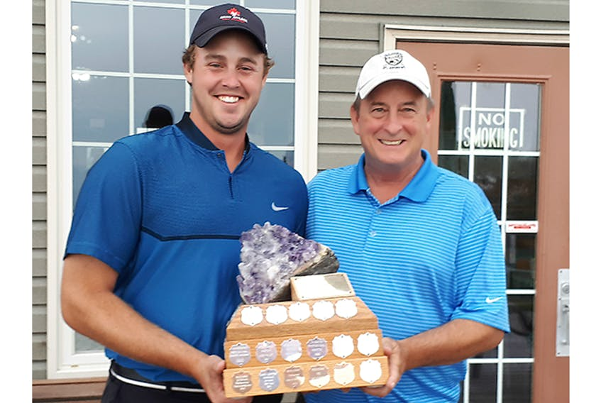 Pictou County professional golfer Brian Affleck, shown in this photo after winning the pro division at the 2019 Parrsboro Open; With him is amateur winner and tournament director Steve Boyce.