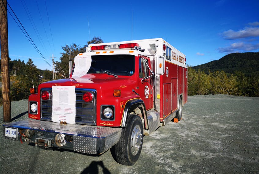This 1984 rescue vehicle has been taken off the road by the Baie Verte Volunteer Fire Department and has left the department shorthanded