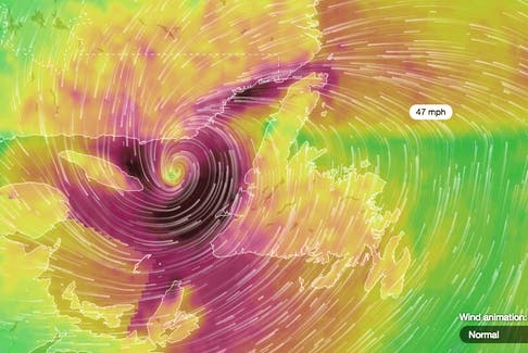 This imagery shows the location of Hurricane Dorian at 10:30 a.m. Sunday. The dark purple area shows its strongest gusts just off the Bay of Islands and Port au Port Peninsula area. - Image courtesy of www.ventusky.com