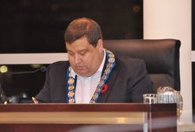 Mayor Jim Parsons chairs Monday night's public council meeting at Corner Brook City Hall.