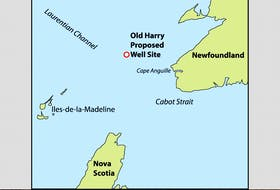 This map shows the location of the proposed Old Harry oil and gas exploration site.