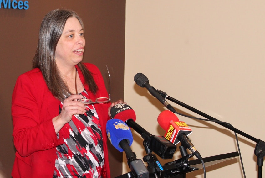 Dr. Janice Fitzgerald at a news briefing early Saturday evening in St. John's. Juanita Mercer/The Telegram
