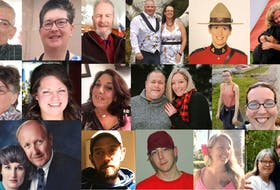 The 22 victims of a mass shooting in Nova Scotia on April 18 and 19, 2020. From left to right: Top row: Peter Bond, Lillian Hyslop, Tom Bagley, Greg and Jamie Blair, Const. Heidi Stevenson and Lisa McCully. Middle row: Joy Bond, Kristen Beaton, Heather O'Brien, Sean McLeod, Alanna Jenkins, Emily Tuck, Jolene Oliver and Aaron (Friar) Tuck. Bottom row: Joanne Thomas, John Zahl, Joey Webber, Corrie Ellison, Gina Goulet and Dawn and Frank Gulenchyn.