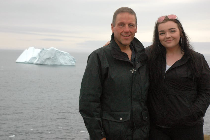 Tony Bussey, originally from St. Lunaire-Griquet, visited the Great Northern Peninsula from June 27-July 1 with his daughter Emma Cooper. It was Emma's first time visiting the area and she got to see icebergs in person for the very first time. This photo was taken at Fishing Point Park in St. Anthony where there are plenty of icebergs in June and July.