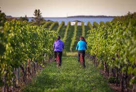 At Jost Vineyards, you can relax by the cozy indoor/outdoor fireplace, hike or bike into the vineyard or linger with a glass of wine and charcuterie board on the open-air patio. - Photo Tourism Nova Scotia.