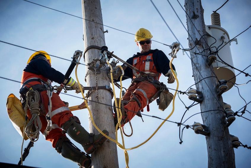 Nova Scotia Power linemen making repairs.