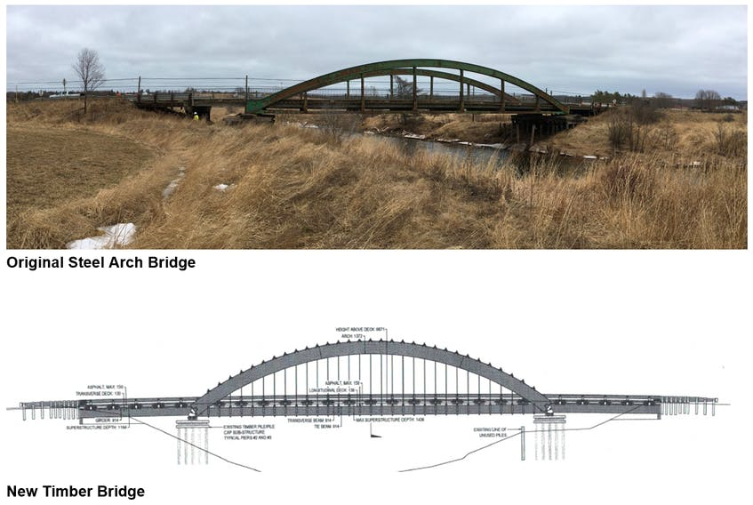 The tender for the new bridge over the Nappan River has been awarded to Timber Restoration Services and will be in place this fall, ending a detour that has started in December 2017 when the former Rainbow Bridge was closed amid structural concerns.