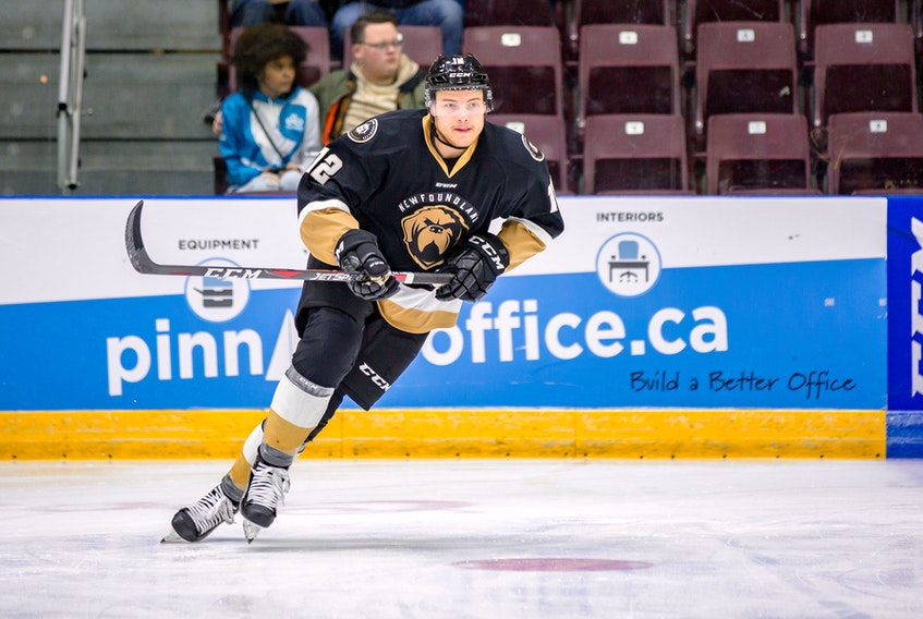 There was only one goal scored during the last 27 power-play opportunities for opponents of the Newfoundland Growlers ... and it was scored by Growlers' forward Scott Pooley (12). It was the first shorthanded goal in Newfoundland's short franchise history. — Newfoundland Growlers photo/Jeff Parsons