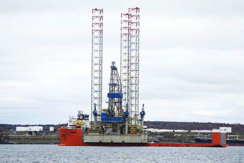 The Noble Regina Allen jack-up drilling rig arrived in Halifax Harbour in Nov. 2017 aboard the semi-submersible heavy lift ship Forte.