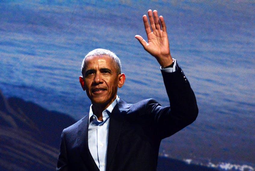 Former U.S. President Barack Obama speaks at the Scotiabank Centre in Halifax on Nov. 13, 2019.