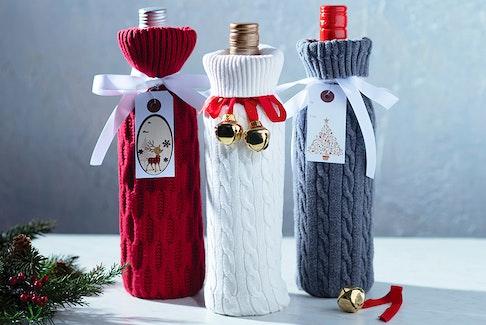 Upcycled Sweater Wine Cozy