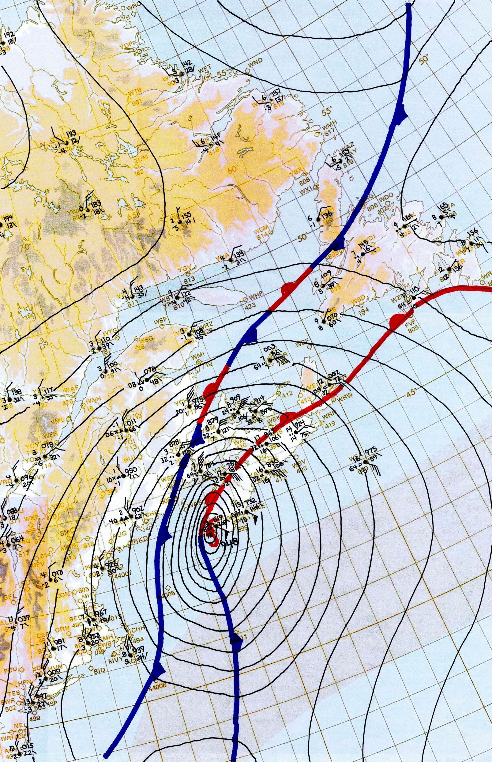 Surface analysis, 18Z October 29th 1963. Hurricane Ginnystruck SW Nova Scotia as a strong Category2 hurricane, the strongest to ever make landfall in Canada in recorded history.