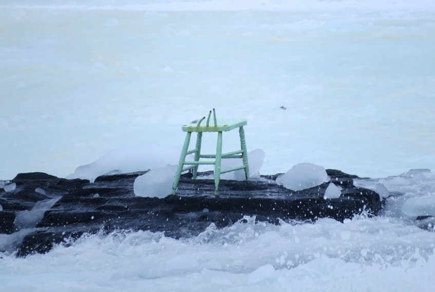 """Will Gill's """"Green Chair"""" met its end due to sea ice this week. Photo courtesy of Neal Tucker."""
