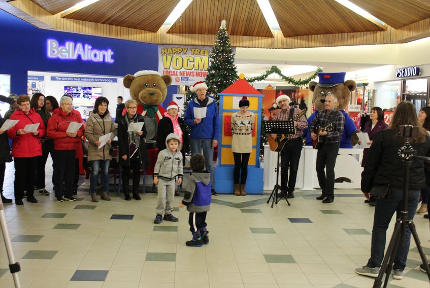 Members of New Life Community Church and St. Mary's Anglican Church performing at Clarenville's Random Square Mall.