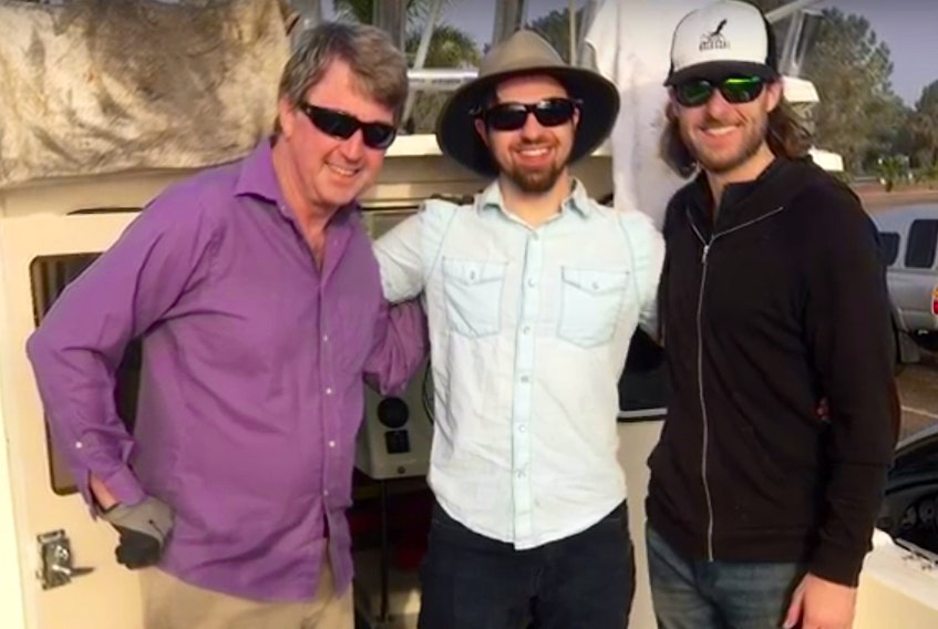 Kevin Hardy of Global Ocean Design, Chad Collett of SubC and Matt Mulrennan of Kolossal at the ACKBAR launch off the coast of San Diego.