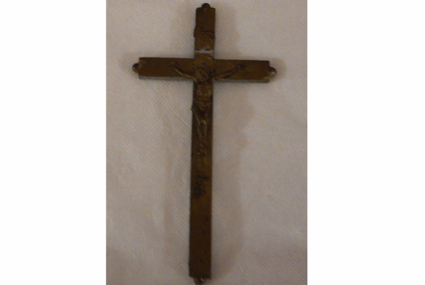 Martha Smith's crucifix showing the wear of years of worry and grief of prayers during the Great War. The crucifix is now in the possession of her 91 year-old granddaughter Minnie Ryan.