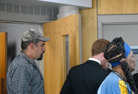 Shawn Wade Hynes exiting the courtroom at Pictou Provincial Court on Sept. 26 after a judge found him guilty on charges of criminal negligence causing bodily harm and assault with a weapon.