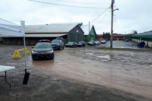 Lineup outside the Antigonish Farmer's Market on May 2. Over 170 orders were filled on the first pickup day for the online ordering at the farmer's market.