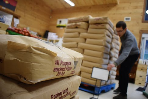 Pallets of all-purpose flour at The Whistleberry Market in Alma, Pictou County.