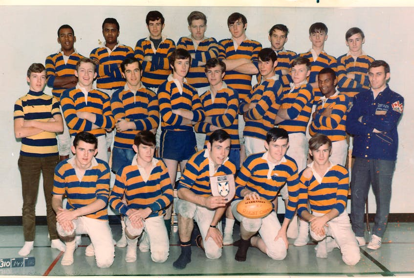 The EPRHS boys rugby team in the early 1970s. In front from left are Lloyd English, Mike Hecimovich, John Weir, Randy Kellock and Bobby MacKay. In middle row are: Terry Cameron (manager), Roy MacDonald, Robert MacEachern, Ivor MacDonald (whom the skating rink in Thorburn is named after), Keith Murdoch, Danny Walsh, Greg Williams, David Paris and coach Keith Melanson. In back row are: Percy Paris, Clarence Izzard, Kairens MacDonald, Doug Green, George Mason, Art Forsythe, Syd Smith and David MacKay.