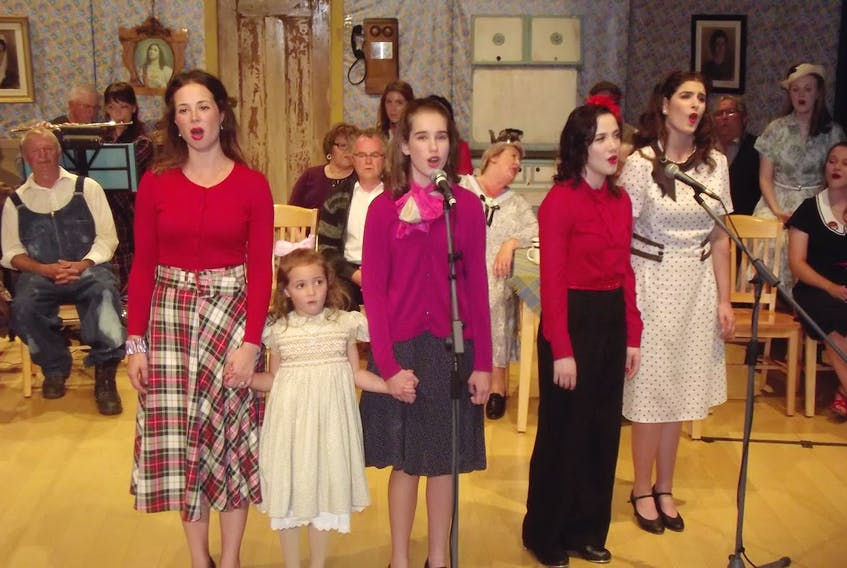 Ann Holton, her daughter Miele Melong, Katey Aucoin, Audrey Cochrane and Julia Shields are among the cast of Ships of 1801's Save Our Keppoch School playing Sunday, Sept. 22 at the deCoste Centre.