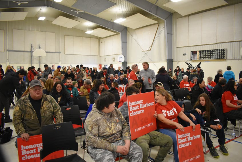 A large crowd gathered in the Pictou Landing First Nation school gymnasium on Dec. 19 in response to forestry supporters demonstration held simultaneously in Halifax.