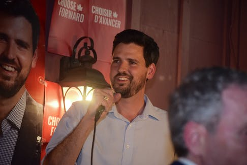 Sean Fraser speaking to supporters in New Glasgow on the night of the 2019 Federal Election. Fraser held onto his seat in parliament with a healthy share of the vote among Central Nova voters.