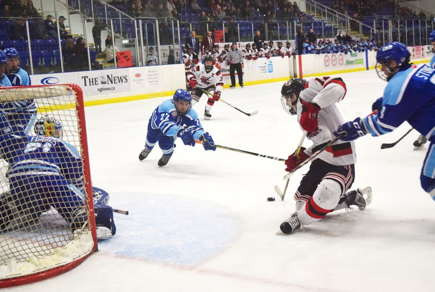 Pictou County Weeks Major Midgets forward Merle Putnam scores on this play, giving his team a lead they would not surrender in Game 7 of their playoff series against Dartmouth on Feb. 23.