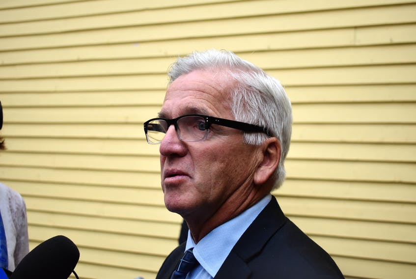 Mayor of the Town of Pictou, Jim Ryan speaking to reporters during Nov. 19 press conference rejecting the findings of the Northern Pulp focus report. Brendan Ahern / The News
