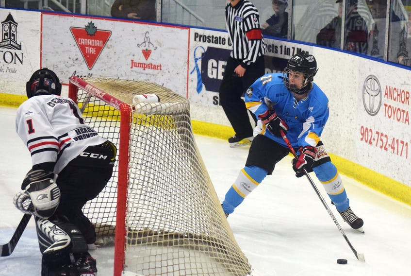 Eastyn Cameron looks to make a play behind the Halifax Hawks' net on Jan. 26.