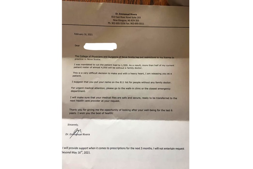 Dr. Emmanuel Rivera sent this letter to patients advising them that he has been required to reduce his patient load.