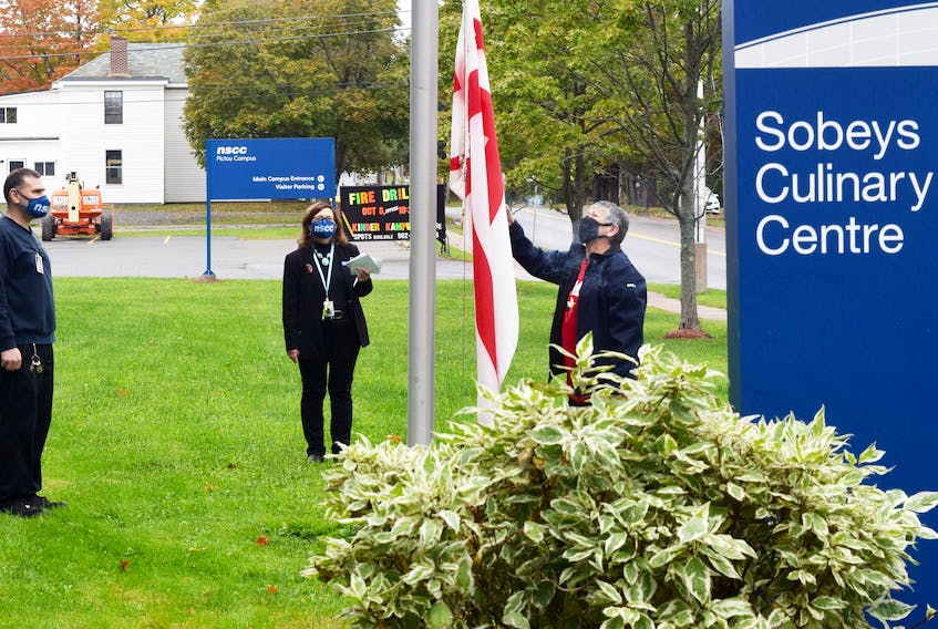 A flag raising in honour of Mi'kmaq History Month was held on Oct. 5 at the NSCC campus in Stellarton.