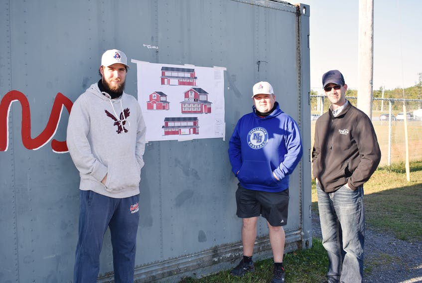From left: Craig Murray, Trevor Kearley have been working with designer Marlin Plett on plans for a new clubhouse to be placed at the ball fields off Old Foxbrook Road in Stellarton.