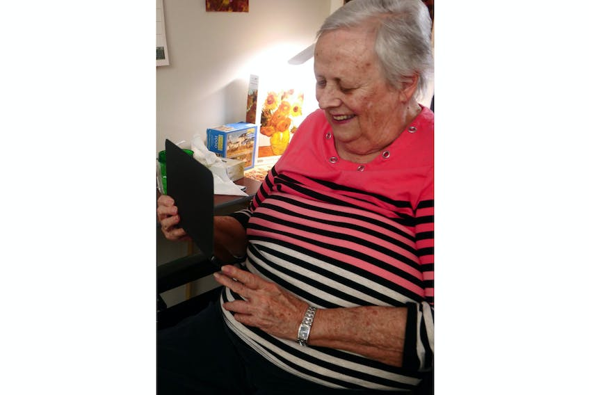 Gertrude McMahon, a resident of the Garden Home in Charlottetown, is looking forward to using one of the recently arrived computer tablets to chat with her daughter, Marie. Nursing and long-term care facilities on P.E.I. have been closed to visitors since the middle of March in an effort to contain the spread of coronavirus (COVID-19 strain).