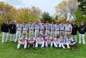 The Holland College Hurricanes won bronze medals at the national baseball championship Saturday in Toronto. Team members, front row, from left, are Adam Richards, Luke Robison, Dylan Cameron, Tyson McInnis, Chase Brown, Avard Hart, Patrick Young and Ryan Abraham. Second row, head coach Andrew MacNevin, assistant coach Logan Gallant, Julian MacDonald, Jake MacLaren, Ben Thompson, Brett Brittany, Curtis McGregor, Colin Gaudette, Eric Anderson, Parker Gallant, Riley Gallant, Tyler Johnston, pitching coach J.P. Stevenson and assistant coach Jordan Stevenson.