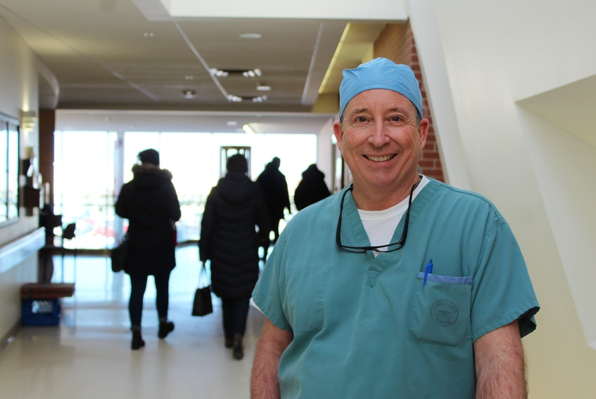 Dr. David Bannon of the Medical Society of P.E.I. stops for a photo during a shift at Prince County Hospital on Monday. MSPEI has signed an agreement with the province aimed at allowing physicians to be better involved with attracting doctors to the Island. Colin MacLean/Journal-Pioneer