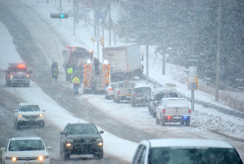 The scene of an accident involving a truck on University Ave. Monday. Stu Neatby/THE GUARDIAN
