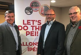 Co-chair Wayne Carew, from left, stands with newly appointed 2023 Canada Winter Games CEO Kyle Dudley and other co-chair Brian McFeely on Oct. 31. Photo submitted.