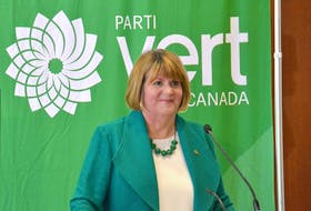 Interim federal Green party leader JoAnn Roberts speaks at a news conference at the Delta Hotel. The hotel will be the site of the next leadership convention of the federal Greens in October. Roberts announced the rules of the leadership process on Monday. Stu Neatby/THE GUARDIAN