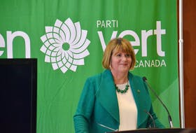 Interim federal Green party leader JoAnn Roberts speaks at a news conference in February at the Delta Hotel. The  next leadership convention of the federal Greens was scheduled for P.E.I. in October.
