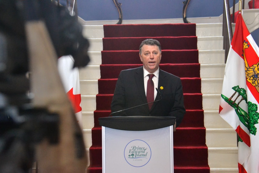 Premier Dennis King speaks during a swearing-in ceremony at Government House. The Premier shuffled the roles of five of his ministers, and moved former Progressive Conservative leader James Aylward out of the Health portfolio.