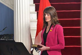 Outgoing environment minister Natalie Jameson is sworn in as the new minister of education during a ceremony on Thursday. Proclamation of the Water Act, a bill that would govern high capacity wells, did not happen during her tenure as minister of environment.