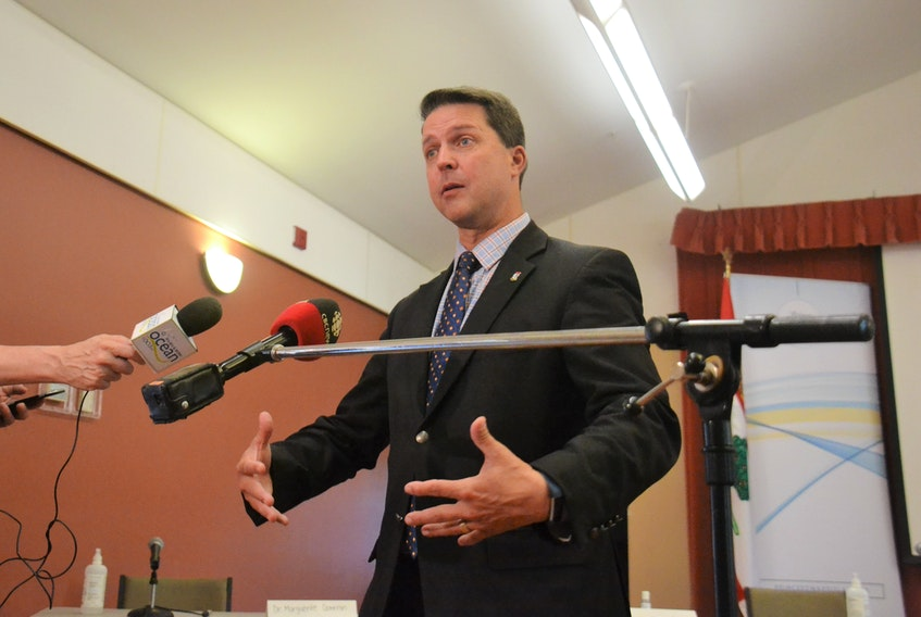 Education Minister Brad Trivers takes questions from media during a briefing about the Province's education plans on Wednesday. The Province plans to fully open Island schools, five days per week, starting September 8.