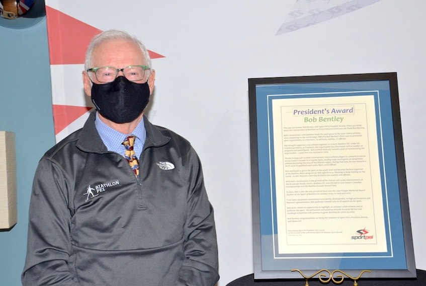 Bob Bentley accepts the President's Award recently during the Sport P.E.I. Annual Amateur Sport Awards at the Confederation Centre of the Arts in Charlottetown.