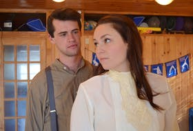 Jacob Hemphill and Melissa MacKenzie are shown in rehearsal for Tuesdays and Sundays, a story inspired by an Island tragedy, that is coming to Watermark Theatre in North Rustico this month.