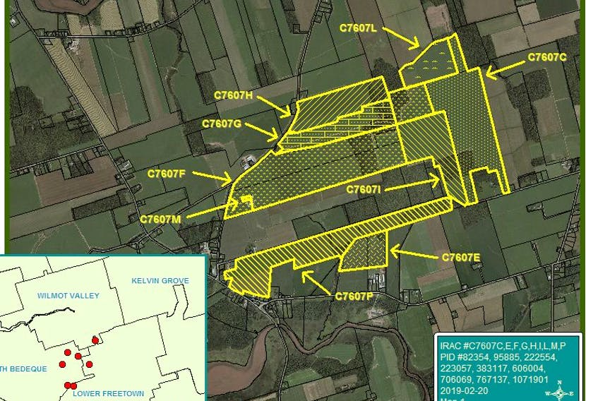 A map of the 2,220-acre parcels of land previously owned by Brendel Farms Ltd. The family-owned farming corporation had attempted to sell the land to three Irving-owned companies, but the sale was rejected by cabinet. Haslemere, whose sole director is Rebecca Irving, is listed as the current owner of the land. Source: IRAC