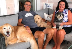Blair Creelman poses at home in Malpeque, P.E.I. with wife Traci and pets Munson, Marley and Milly. Creelman is recovering after battling life-threatening heart issues. Read about his story on Page XX as The Guardian reporter Jason Simmonds presents the second in a regional series on Atlantic Canadians.