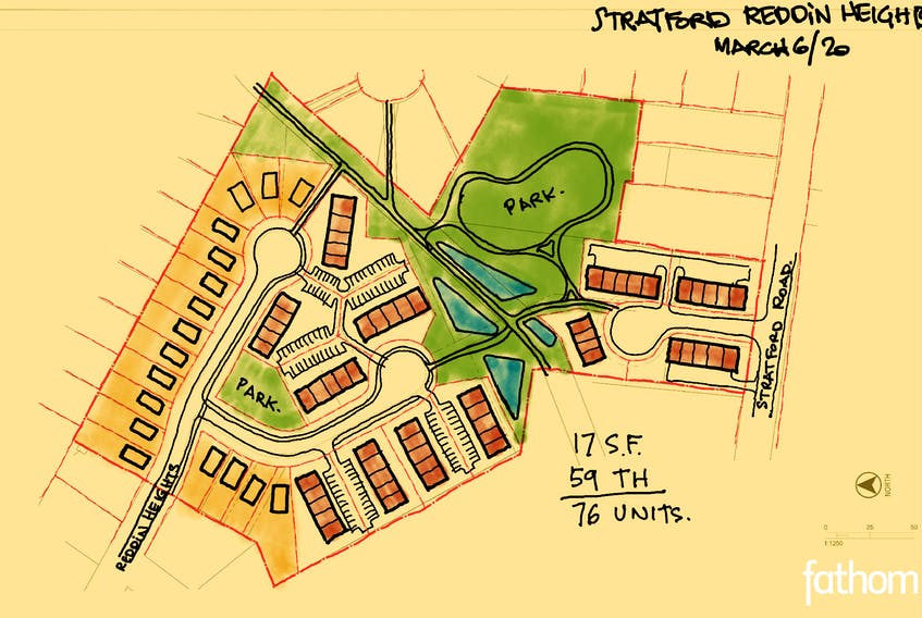 A revised plan of the Reddin Meadows development project as shown at Stratford's town council meeting on March 11.