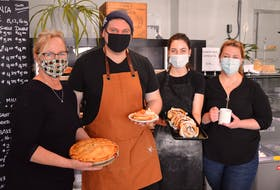 Rose Viaene, left, just opened the Country Taste Kitchen and Bakery on the Trans-Canada Highway in Belfast. The bakery features a strong European theme although the traditional Island favourites are there, too. Also pictured are, from left, Michael Daniel, chef; Kimberley Lava; and Trisha Viaene, manager.