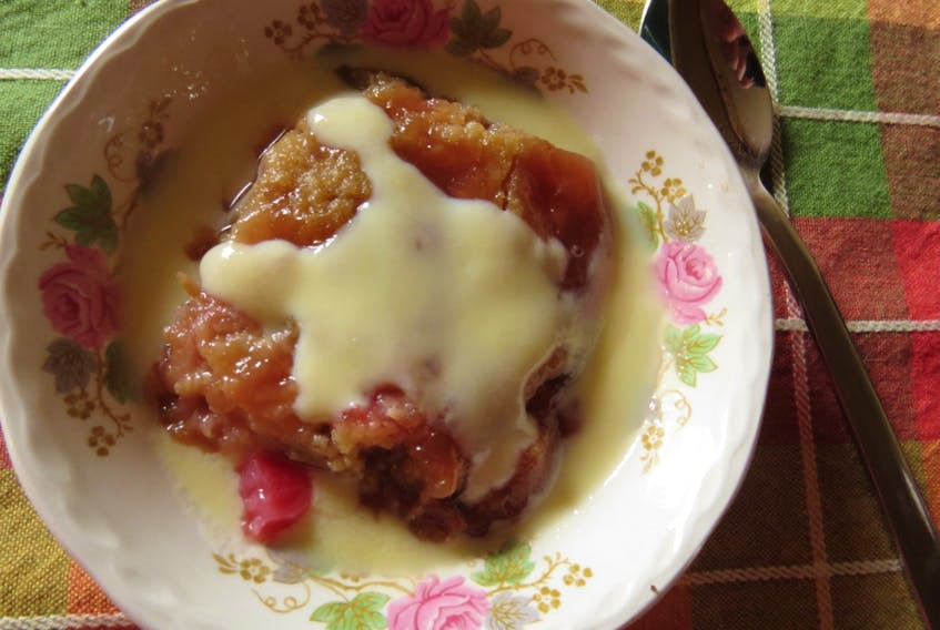 This week, Margaret Prouse takes advantage of fresh fruit to create rhubarb crisp topped with custard sauce.